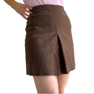 Vintage (10) EQUIPMENT suede feel skirt in chocolate